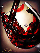 Limited Edition Giclee of Artist Original Lipstick Kiss Glass Wine Art Painting