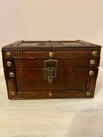 Vintage Wooden Wood Box Trunk Trinket w/ Antique Gold Hardware Butterfly Emblem