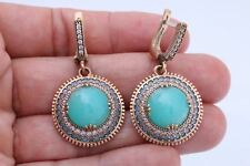 Turkish Jewelry Round Aquamarine Turquoise Topaz Sterling Silver Dangle Earrings
