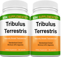 2x Tribulus Terrestris 1000mg per serving Minimum 45% Saponins Extract 90 Caps