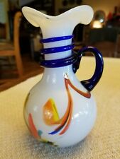 """Murano Glass Pitcher with Handle Design 6 1/2"""" Tall"""