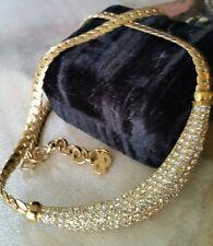 Vintage Christian Dior Signed Pave Set Rhinestone Bib Gold Tone Choker Necklace