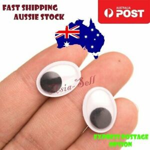 50x Dolls Googly Eyes Oval Adhesive Backing Doll Teddy Joggle Boggle 10mmx8mm