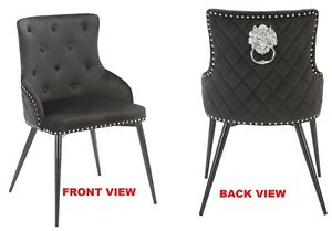 """KENSINGTON"" BLACK / GREY Velvet Button Dining Chair, Lion Head Knocker"