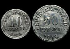 NOTGELD: 10 & 50 Pfennig 1918, Eisen. Jaeger N 3a & N 4. HERZOGTUM BRAUNSCHWEIG.