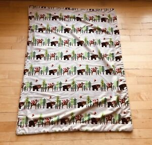 """💛 Mink Blanket with Sherpa Back - Tan Forest Bear Deer Squirrel 28"""" x 38"""" 💛"""