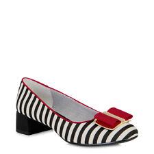 Ruby Shoo June Black White Red Stripe Low Heel Pumps