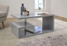 POLAR HIGH GLOSS LED COFFEE TABLE LOUNGE TABLE W/ SHELF GREY W/ LED LIGHT