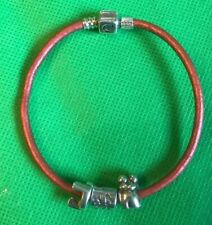 925 Sterling Chamilia CHAM Charm Leather Bracelet With 3 Charms