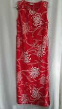 RED FLORAL Women's Dress sz M Sleeveless Necklace Attached Long