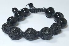 SHAMBALLA BEAD BRACELET 10mm Black Black Crystal 5 Pave Disco Ball Bling Hip Hop