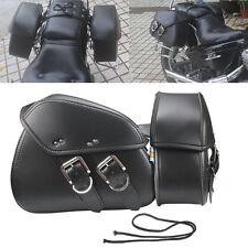 Black Leather Saddle Bags Side Bag Motorcycle Bike Saddlebag FOR Harley Cruiser