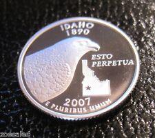 2007 S  IDAHO STATE SILVER QUARTER CAMEO PROOF (90% SILVER) // MC 345