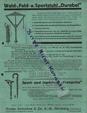 NÜRNBERG, Prospekt 1930, Gustav Genschow & Co. AG Sport-Stuhl Stock DURABEL