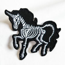 DIY Embroidered Skull Unicorn patch Sew On Iron On Patch Badge Applique Craft CN