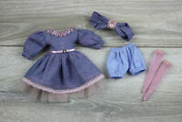 Blythe doll outfit dress lilac socks Petticoats Barrette accesories clothes 1/6