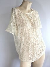 AMERICAN APPAREL Short Sleeve Cream Sheer Lace Tee Top w/ Satin Trim Size S / M