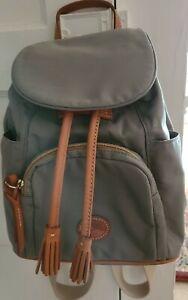 Dooney & Bourke Nylon Medium Grey Murphy Backpack Duck  leather logo