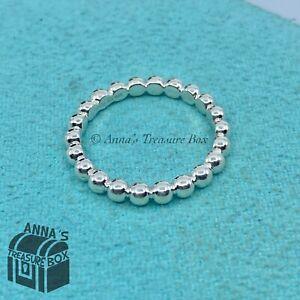 Tiffany & Co. 925 Silver Ziegfeld Beaded Stacking Ring Sz. 7 (pouch)