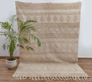 Beige Hand Woven Undyed Cotton Boho Rug Moroccan Decor Nordic Scandinavian.MD-2