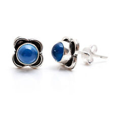 925 Sterling Silver Natural Chalcedony Gemstone Stud Earrings Pair Jewelry