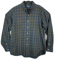 Polo Ralph Lauren Long Sleeve Oxford Shirt Plaid Mens Sz L Blue Green Yellow EUC