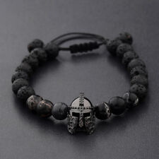 Men Charm Black Spartan Helmet Beaded Natural Stone Adjustable Macrame Bracelets