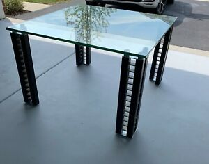 """Restoration Hardware Modern Line Square Dining Table 46"""" Glass Top"""