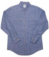 BROOKS BROTHERS Long Sleeve Denim Chambray Button Shirt Blue Medium M Slim Fit