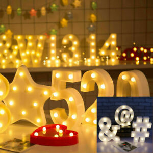 Number Alphabet LED Letter Lights Light Up Metal Standing Hanging Marquee Decor
