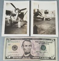 Lot of 2 Original WWII Photos Aircraft Plane Bomber US 9929 Nose Aircrew