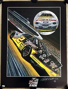 RUSTY WALLACE Signed Autographed 21x28 Sam Bass Lithograph, Poster, Miller, JSA