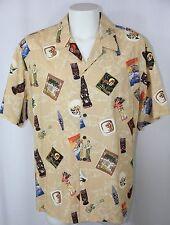 KoleKole Vintage Theme Hawaiian Shirt Tan Tiki Postcard Made in Hawaii Men 2XL