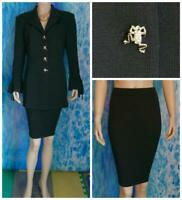 ST. JOHN Evening Knits Black Jacket Skirt L 12 14 2pc Suit Gold Frog Buttons