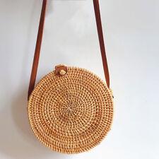 Mori girl Circle Handwoven Bali Round Retro Rattan Straw Beach Bag Crossbody H0
