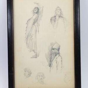 Antique pencil sketch portrait studies costume illustration Henry Reynolds #7