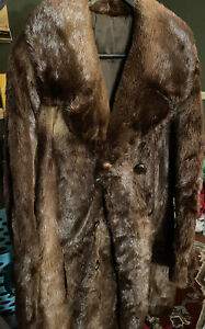 Men's Genuine Brown River Otter Fur Coat