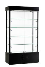 Premium ASSEMBLED Black Wall Glass Display Case Showcase Light NEW YORK PICKUP
