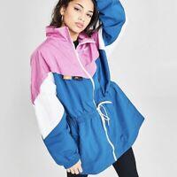 Nike Woven Long Track Jacket (Women's Size L) Full Zip Windbreaker Blue Pink
