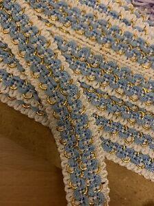 NEW Vintage Upholstery Dressmaking Blue/Cream Braid Trim - 2cm. Price Per Metre