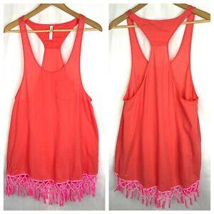 NEW Victoria's Secret Boho Tassel Fringe Tank Dress Beach Cover Up S Coral Pink