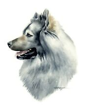 Eurasier Dog Watercolor Painting 8 x 10 Art Print by Artist Dj Rogers w/Coa