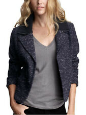 Gap Jacket Wool Moto Blazer Marled Speckled Navy White Zip Rib Knit Collar M L
