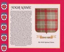 """Welsh nazionale Tartan & Cognome STORIA stampa 10 """"x 8"""" & libero REGALO NUOVO DESIGN"""