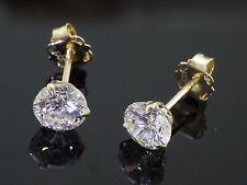 333 Gold Ohrstecker  1 Paar 3 mm Zirkonia Steine  mit 3 Krappen Ohrringe