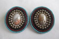 Handmade Agate Rhinestone Gold Tone Seed Bead Earrings Mary B Solana Beach CA