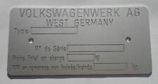 Plaque constructeur volkswagen - volkswagen vin plate - typenschild