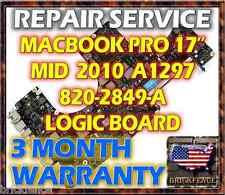 "MACBOOK PRO A1297 17"" 820-2849-A MID 2010 LOGIC BOARD REPAIR 661-5472 661-5526"