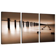 Set of Three Part Brown Sepia Canvas Wall Art Pictures Prints XXL 3088