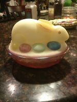 Fenton Glass Eggs BUNNY RABBIT ON NEST BOX COVERED CANDY DISH Stunning